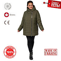 Женская Куртка демисезонная 54-68 прямой силуэт Хаки