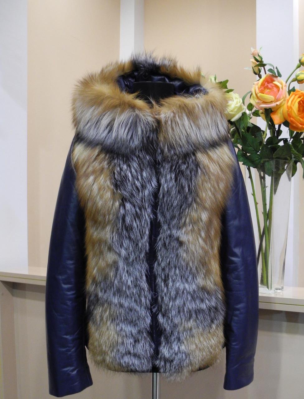Куртка жіноча шкіряна синього кольору 85292497cc6c1