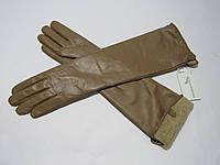 Перчатки женские зимние длинные из натуральной кожи лайка