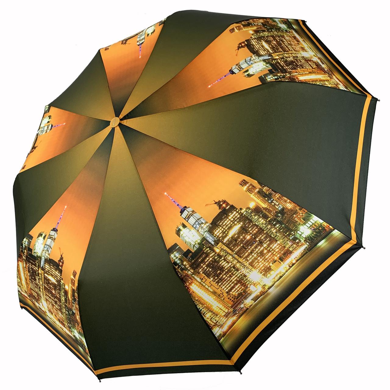 Женский складной автоматический зонтик c принтом ночного города от Flagman, коричневый, 510-4