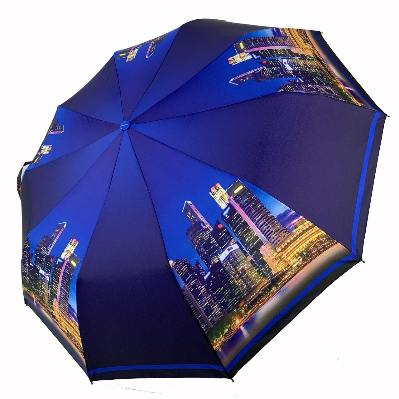 Женский складной автоматический зонтик c принтом ночного города от Flagman, синий, 510-6