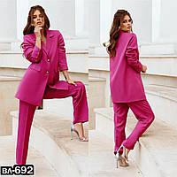 Стильный качественный женский брючный костюм 3 цвета С, М +большой размер, фото 1