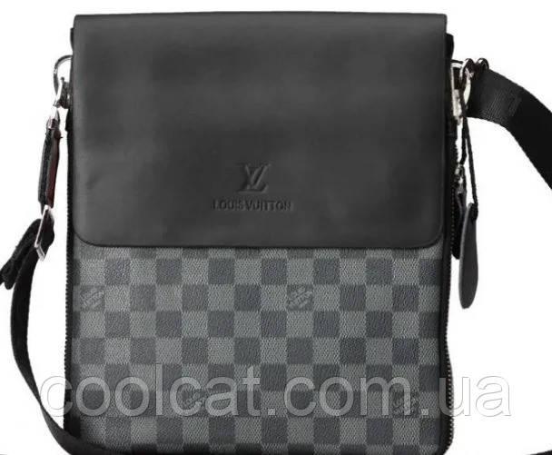 Мужская сумка - планшет  Louis Vuitton, Сумка через плечо Черная (27х23х7 см)