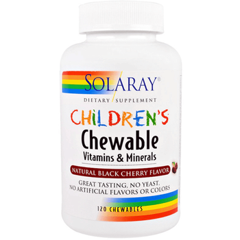 Solaray Children's Chewable Vitamins and Minerals, Natural Black Cherry – 120 Chewables