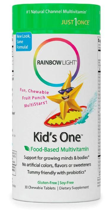 Rainbow Light Kids One™ Multivitamin & Mineral Fruit Punch – 30 Chewable Tablets