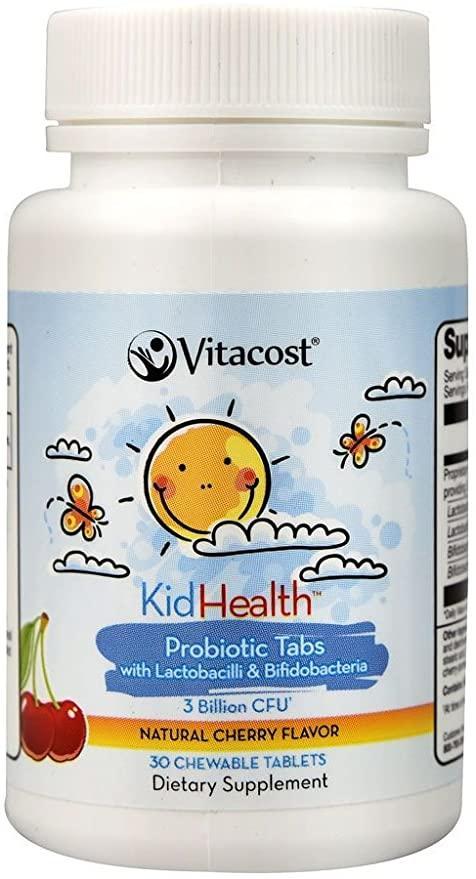 Vitacost Probiotic Tabs for Kids Cherry – 3 billion CFU** - 30 Chewable Tablets