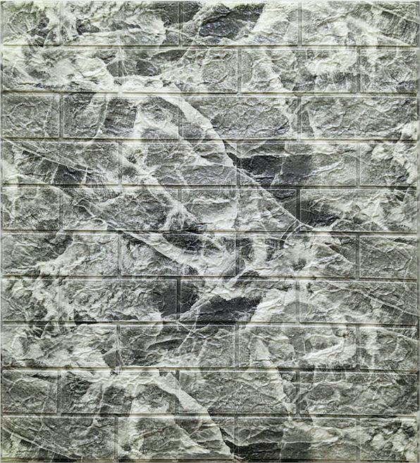 Самоклеюча 3D панель під цеглу Мармур Чорний (в упаковці 10 шт)