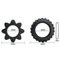 Ерекційні кільця - Ring Flowering Black, 2 шт., фото 4