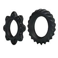 Ерекційні кільця - Ring Flowering Black, 2 шт., фото 7