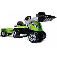 Трактор детский педальный с ковшом и прицепом зеленый Max Smoby 710109