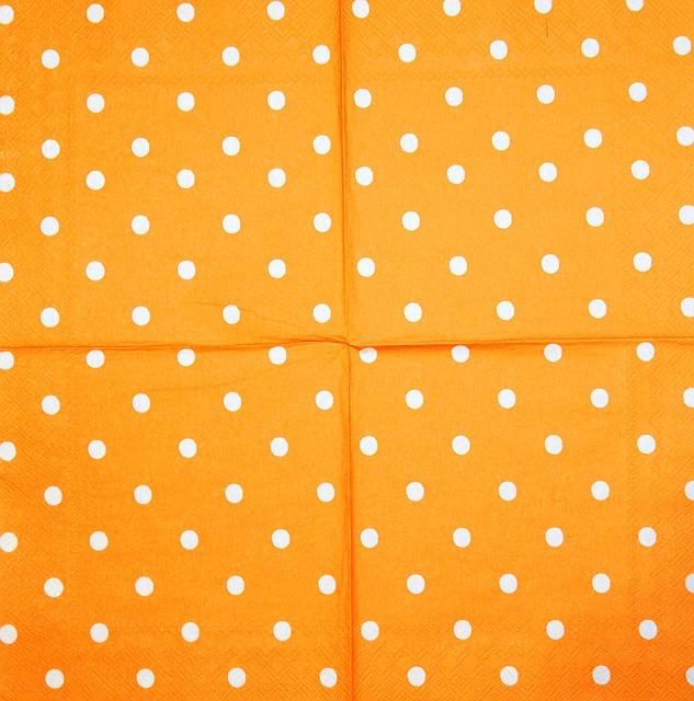 Салфетки декупажные оранжевая в горошек 2009