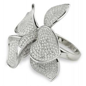 Эксклюзивное серебряное кольцо Цветок 27296