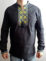 Вышиванка мужская с сине-желтой вышивкой, фото 1