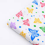 Бязь с бабочками и кружочками: жёлтыми, голубыми, зелёными, сиреневыми (№ 591), фото 6