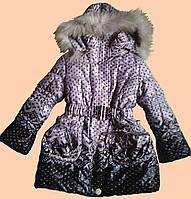 Пальто зимнее для девочки, с капюшоном. Светло-сиреневое.