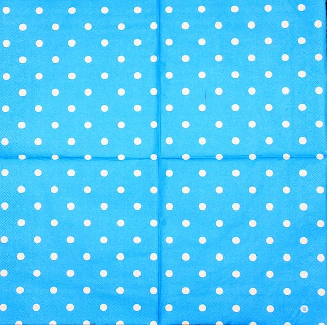 Салфетки декупажные голубая в горошек 2013