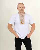 Стильная  практичная мужская футболка вышиванка с коротким рукавом белый+коричневый