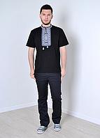 Стильная  практичная мужская футболка вышиванка с коротким рукавом черный+серый