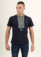 Стильная  практичная мужская футболка вышиванка с коротким рукавом т.синий+сине желтый