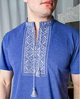 Стильная  практичная мужская футболка вышиванка с коротким рукавом джинс синий+серый