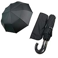 """Зонт чоловічий складной-напівавтомат на 10 спиць з системою """"антиветер"""" від Calm Rain, ручка гак, чорний, 349, фото 1"""