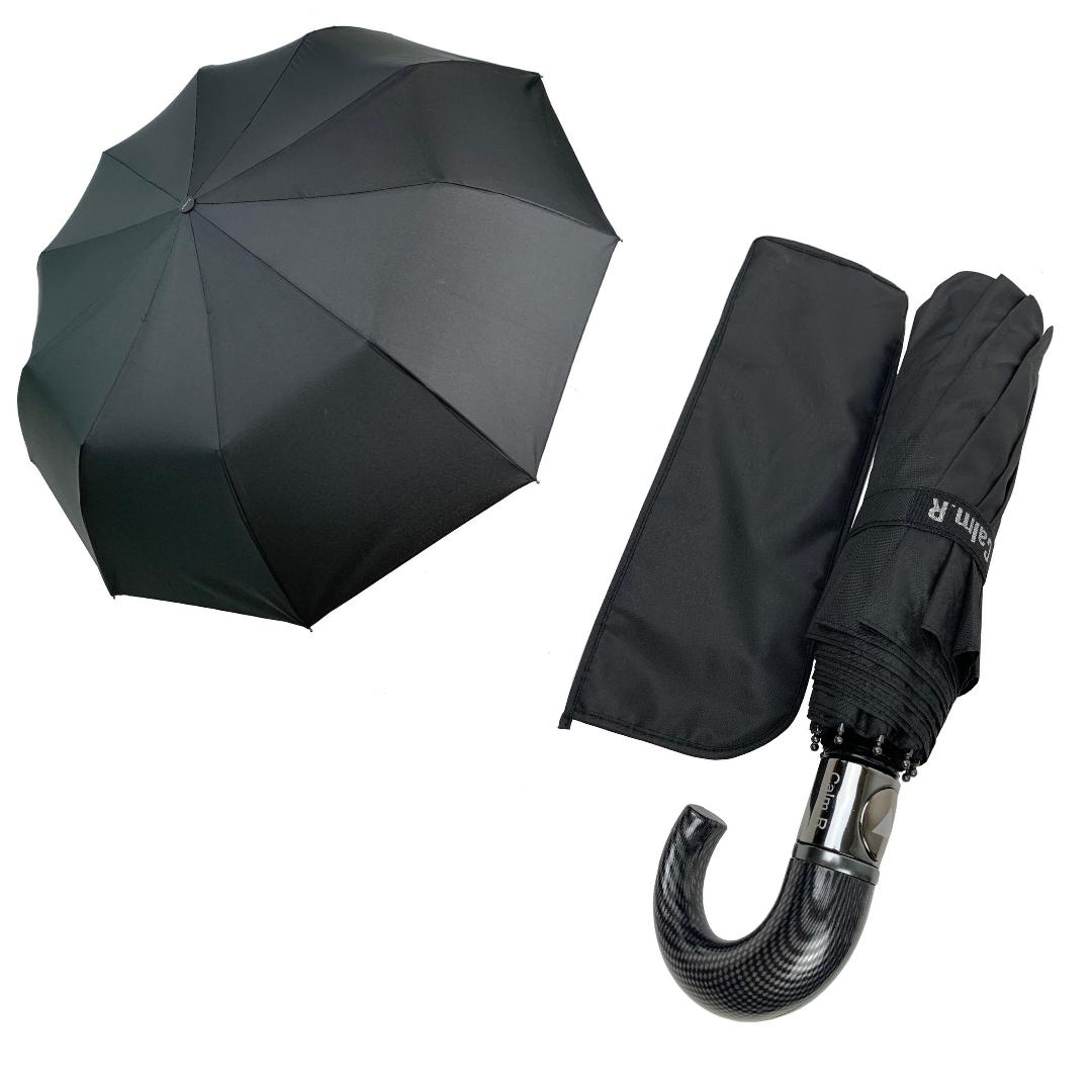 """Зонт чоловічий складной-напівавтомат на 10 спиць з системою """"антиветер"""" від Calm Rain, ручка гак, чорний, 349"""