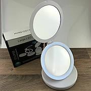 Круглое косметическое зеркало с LED подсветкой и увеличением 5х Large Led Mirror для макияжа дорожное