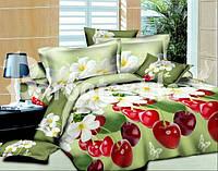 Ранфорс полуторное постельное белье с эффектом 3D вишня