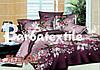 Двуспальное постельное белье Ранфорс 3D - с белыми цветочками