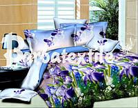 Двуспальное постельное белье Ранфорс 3D - цветы