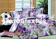 Двуспальное постельное белье Ранфорс 3D - с фиолетовыми цветами