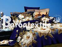 Постельное  двуспальное белье Ранфорс 3D - белые цветы