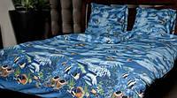 Семейный комплект постельного белья - синего цвета