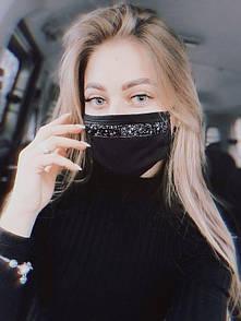 Женская маска хлопковая черного цвета с черными стразами