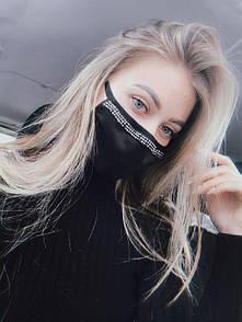 Хлопковая маска женская черного цвета с белыми стразами