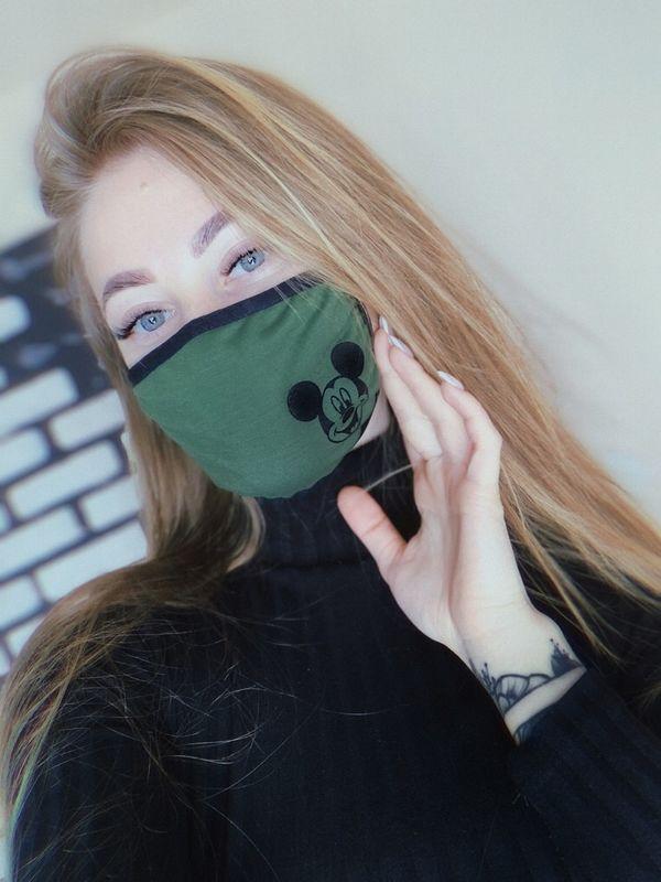 """Женская маска темно-зеленая с рисунком """"Микки Маус"""""""