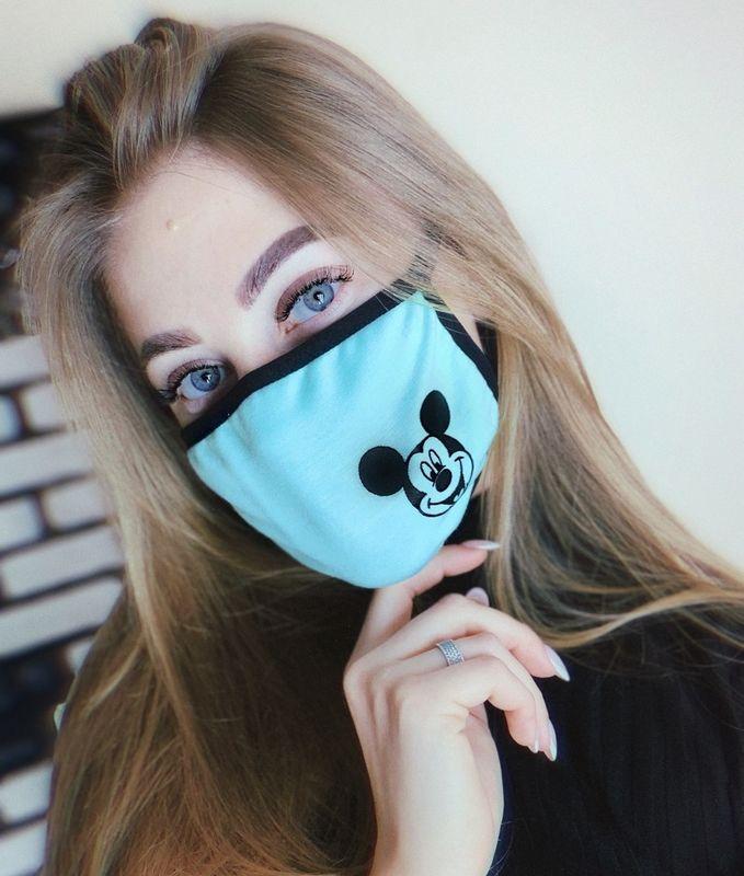 """Защитная маска для девушек бирюзового цвета """"Микки Маус"""""""