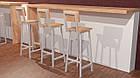 Белый барный стул из металла и натурального дерева, фото 2