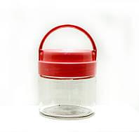 Банка стеклянная Everglass 330 мл.для хранения с красной с пластиковой крышкой и ручкой