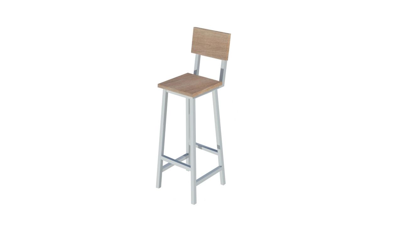 Белый барный стул из металла и натурального дерева
