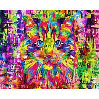 Картина по номерам Радужный кот, размер 50*40 см, зарисовка полная, фото 1