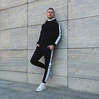Мужской весенний черный спортивный костюм с капюшоном