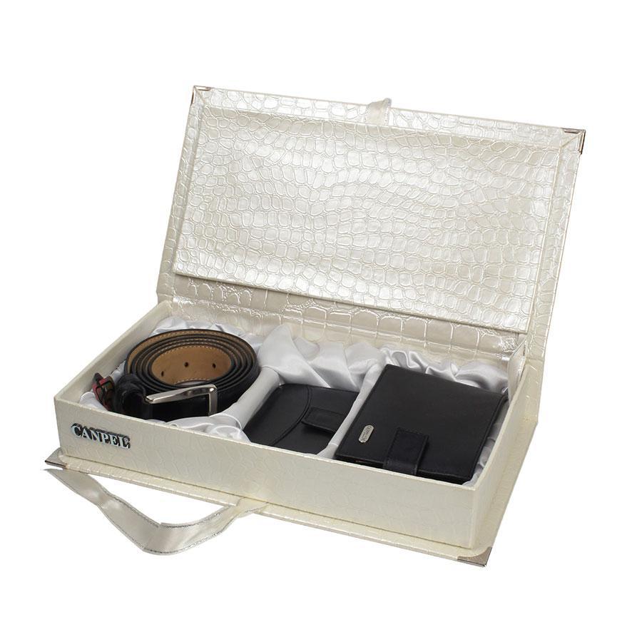 Подарочный набор кожаных аксессуаров для мужчин Canpellini 2020-20-Black в черном цвете