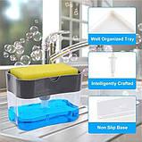 Ручной дозатор пресс для жидкого мыла с губкой Caddy, фото 3