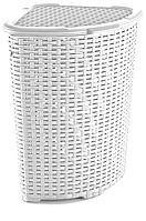 Корзина для белья  РОТАНГ белая угловая  DUNYA PLASTIK ТУРЦИЯ  52 л.  05005