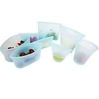 Набір №4 Сімейний пакет-контейнери для зберігання/готування/перенесення їжі Бірюзовий (hub_gVbs52782)