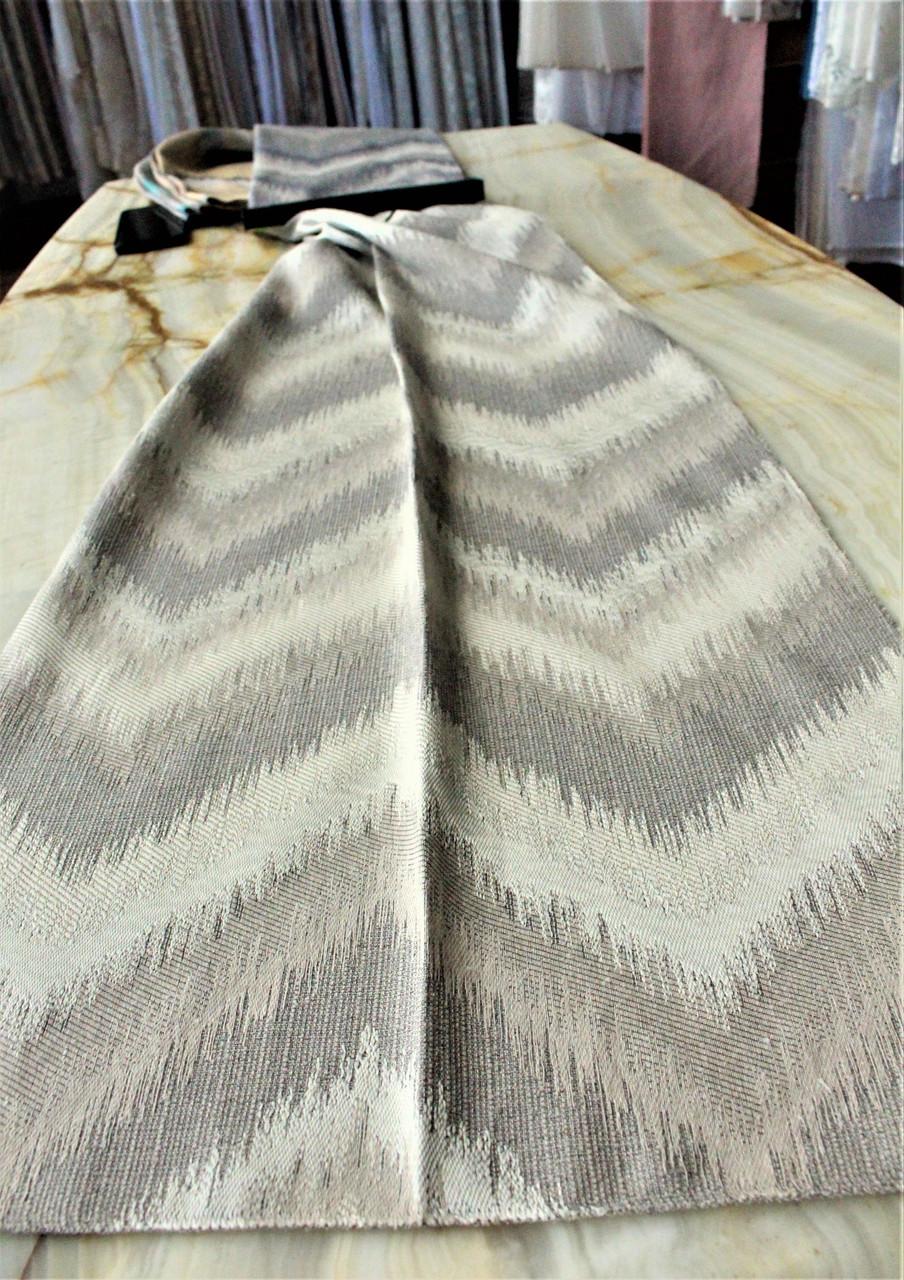 Ткань для штор шелковая вышивка зигзаг