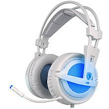 Навушники Sades A6 7.1 Virtual Surround Sound White/Blue USB