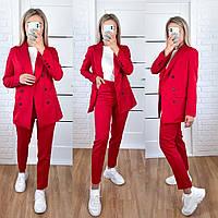 Стильный женский костюм двойка: пиджак и брюки красный S 42 M 44 L 46 XL 48, фото 1