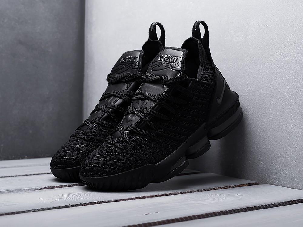 Мужские кроссовки Nike LeBron XVI ALL BLACK (черные) KS 1522
